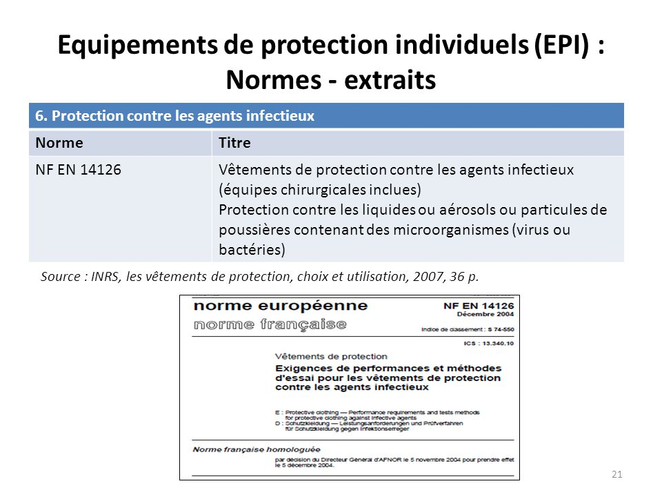 6. Protection contre les agents infectieux NormeTitre NF EN 14126Vêtements de protection contre les agents infectieux (équipes chirurgicales inclues)