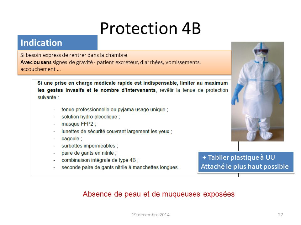 19 décembre 201427 Protection 4B 27 Indication + Tablier plastique à UU Attaché le plus haut possible + Tablier plastique à UU Attaché le plus haut po