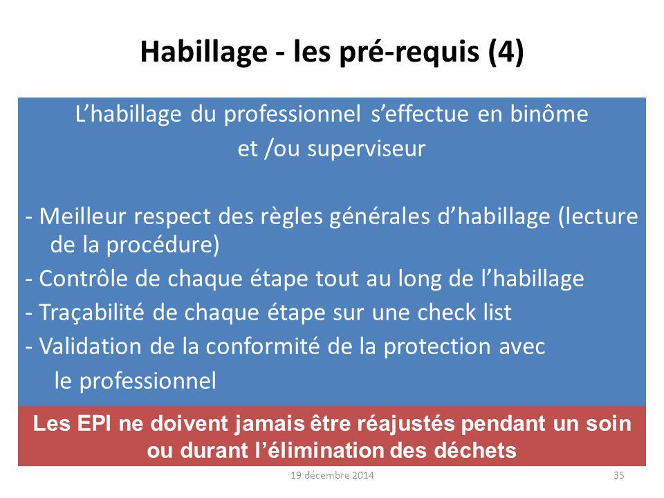 19 décembre 2014 36 Déshabillage - pré-requis (1) Le déshabillage du professionnel s'effectue en binôme et/ou superviseur -Mémento imagé : habillage et déshabillage -Meilleur respect de règles de déshabillage -Mesures correctives immédiates en cas d'erreur -Traçabilité : -Entrées et sorties des personnes présentes -Eventuels incidents -Actions correctrices effectuées (REX et appréciation du risque) -Validation de la conformité du déshabillage Contrôle de chaque étape tout au long du déshabillage Le déshabillage expose particulièrement le professionnel aux risques de contact
