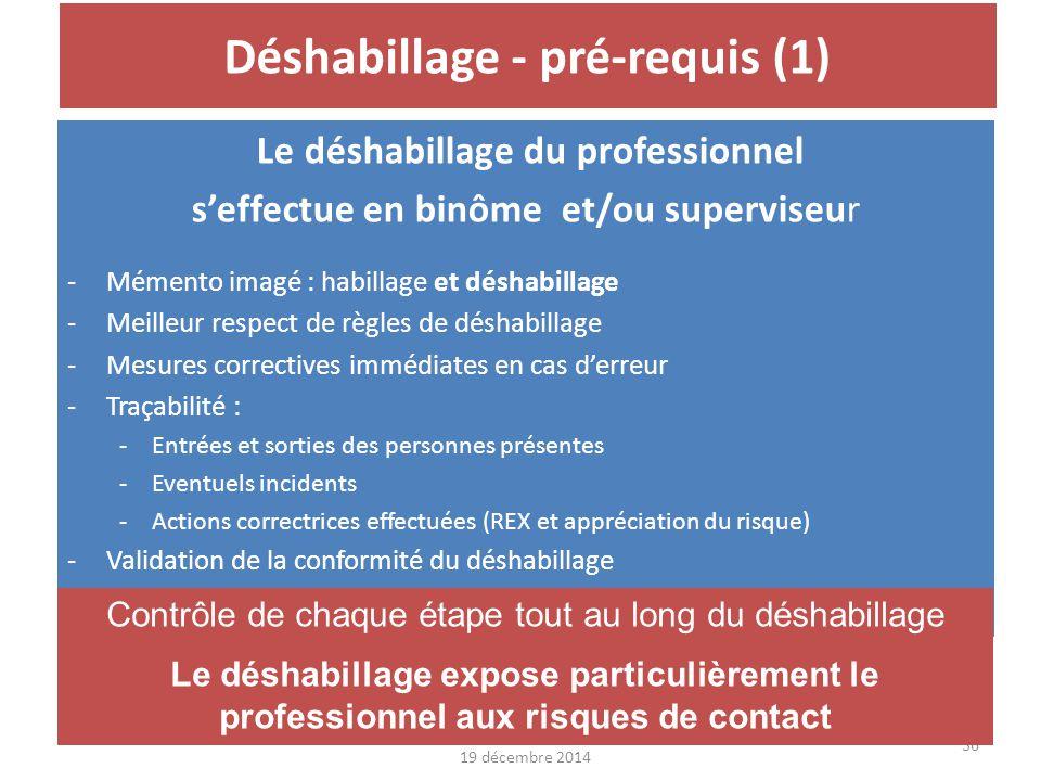 19 décembre 201437 Déshabillage - pré-requis (2) Le local Équipé de fûts à DASRI Eau de javel et gélifiant à disposition Lingettes Diaporama DASRI en ligne : http://www.cclin- arlin.fr/Alertes/2014/alerte_Ebola.htmlhttp://www.cclin- arlin.fr/Alertes/2014/alerte_Ebola.html Le déshabillage expose particulièrement le professionnel aux risques de contact