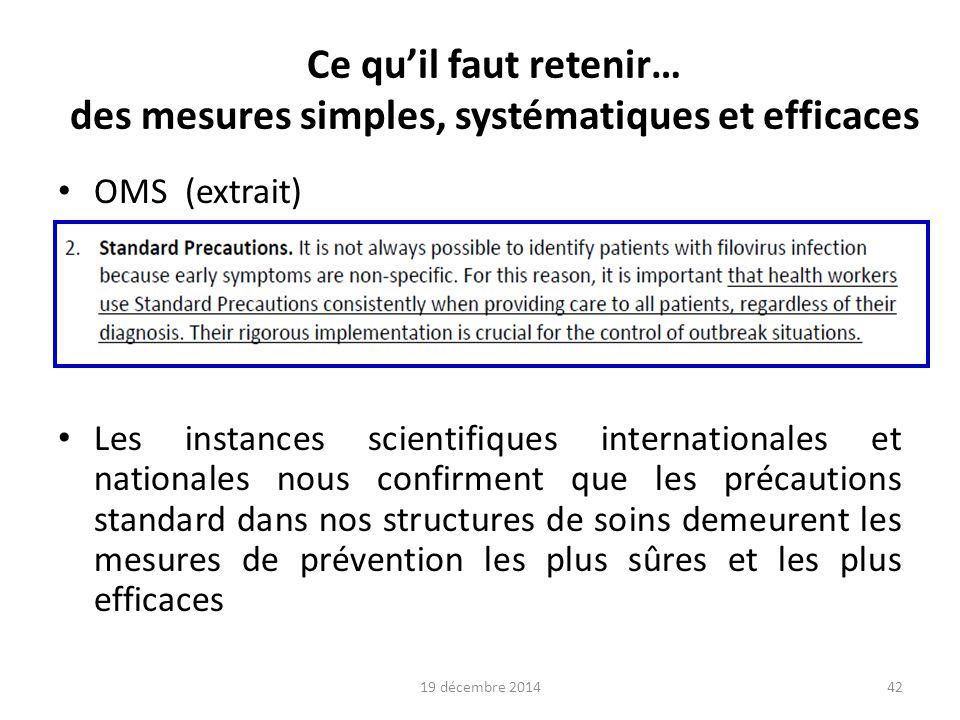 Exemples de procédures Site du ministère de la santé http://ebola.sante.gouv.fr/ Site Nosobase « Actualité Ebola » http://www.cclin-arlin.fr/Alertes/2014/alerte_Ebola.html Site de l'EPRUS http://www.eprus.fr/rubrique/conduite-et-moyens-sanitaires- operationnels.html http://www.eprus.fr/rubrique/conduite-et-moyens-sanitaires- operationnels.html 19 décembre 201443