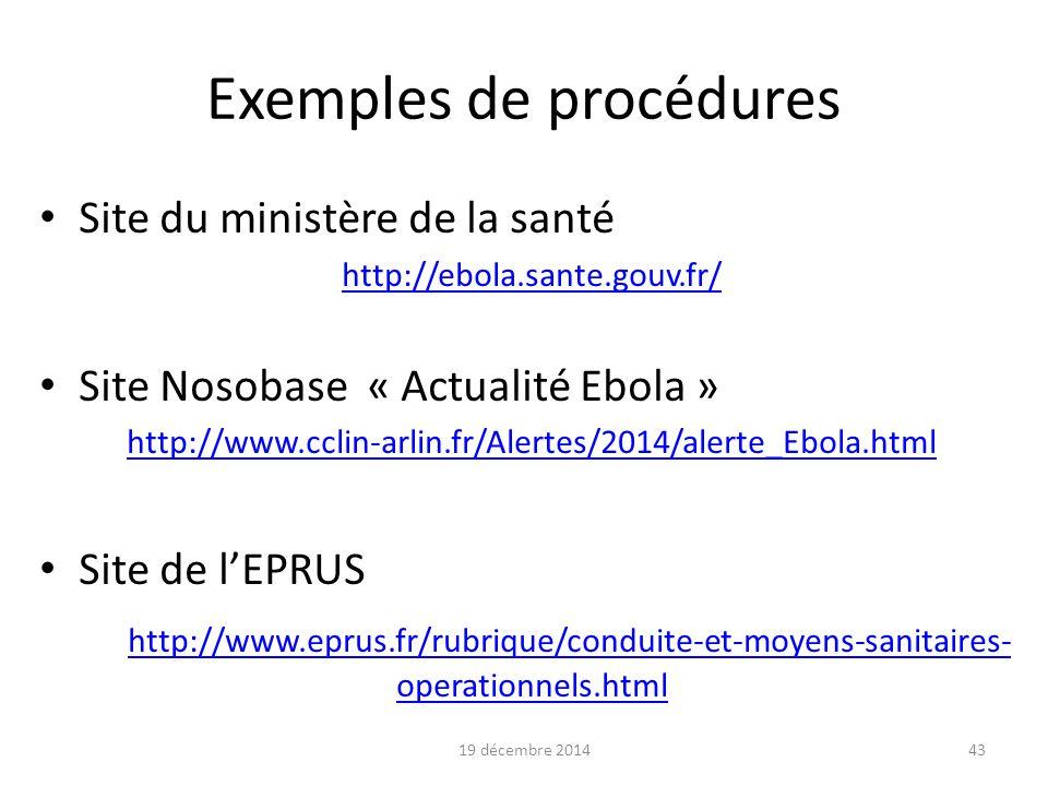 44 Exemple de procédure d'habillage Précautions complémentaires renforcées au CHIC de Quimper - Extrait- (1) 19 décembre 2014