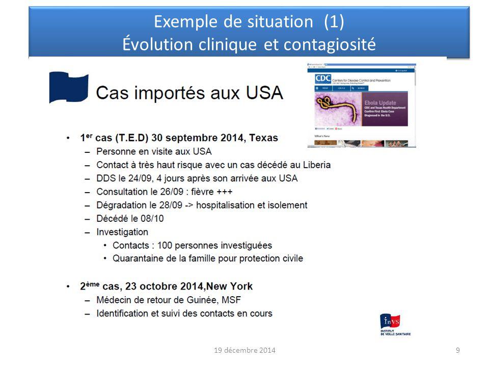 10 Exemple de situation (2) Évolution clinique et contagiosité