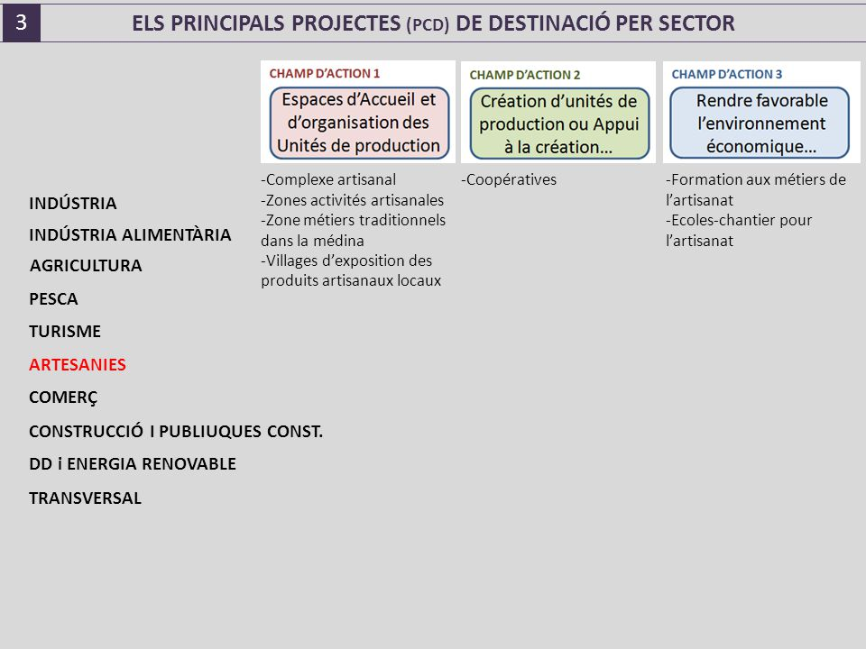 ELS PRINCIPALS PROJECTES (PCD) DE DESTINACIÓ PER SECTOR -Complexe artisanal -Zones activités artisanales -Zone métiers traditionnels dans la médina -Villages d'exposition des produits artisanaux locaux -Coopératives -Formation aux métiers de l'artisanat -Ecoles-chantier pour l'artisanat INDÚSTRIA INDÚSTRIA ALIMENTÀRIA AGRICULTURA PESCA TURISME ARTESANIES COMERÇ CONSTRUCCIÓ I PUBLIUQUES CONST.