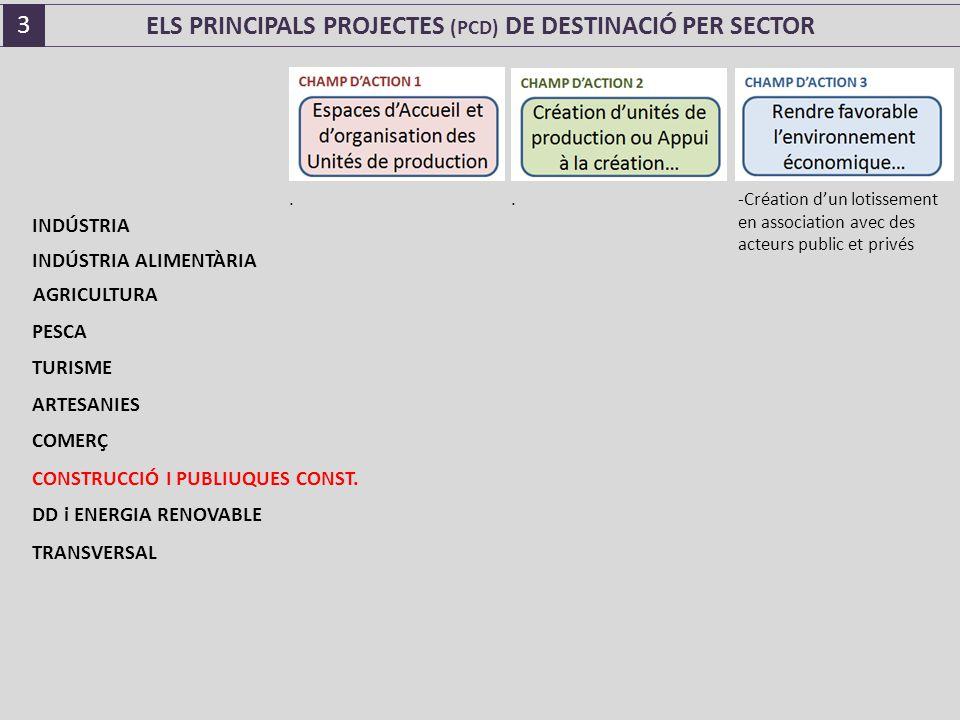 ELS PRINCIPALS PROJECTES (PCD) DE DESTINACIÓ PER SECTOR..