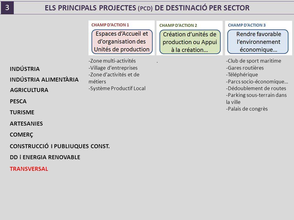 ELS PRINCIPALS PROJECTES (PCD) DE DESTINACIÓ PER SECTOR -Zone multi-activités -Village d'entreprises -Zone d'activités et de métiers -Système Productif Local.