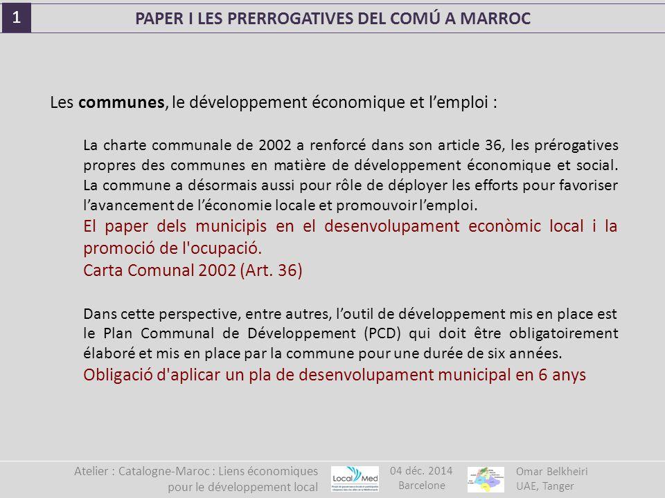 Les communes, le développement économique et l'emploi : La charte communale de 2002 a renforcé dans son article 36, les prérogatives propres des communes en matière de développement économique et social.