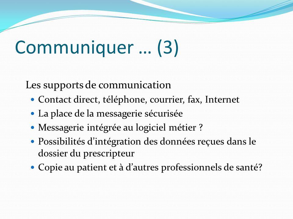 Communiquer … (3) Les supports de communication Contact direct, téléphone, courrier, fax, Internet La place de la messagerie sécurisée Messagerie inté