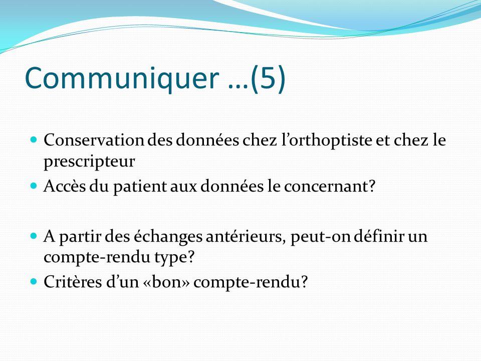 Communiquer …(5) Conservation des données chez l'orthoptiste et chez le prescripteur Accès du patient aux données le concernant? A partir des échanges