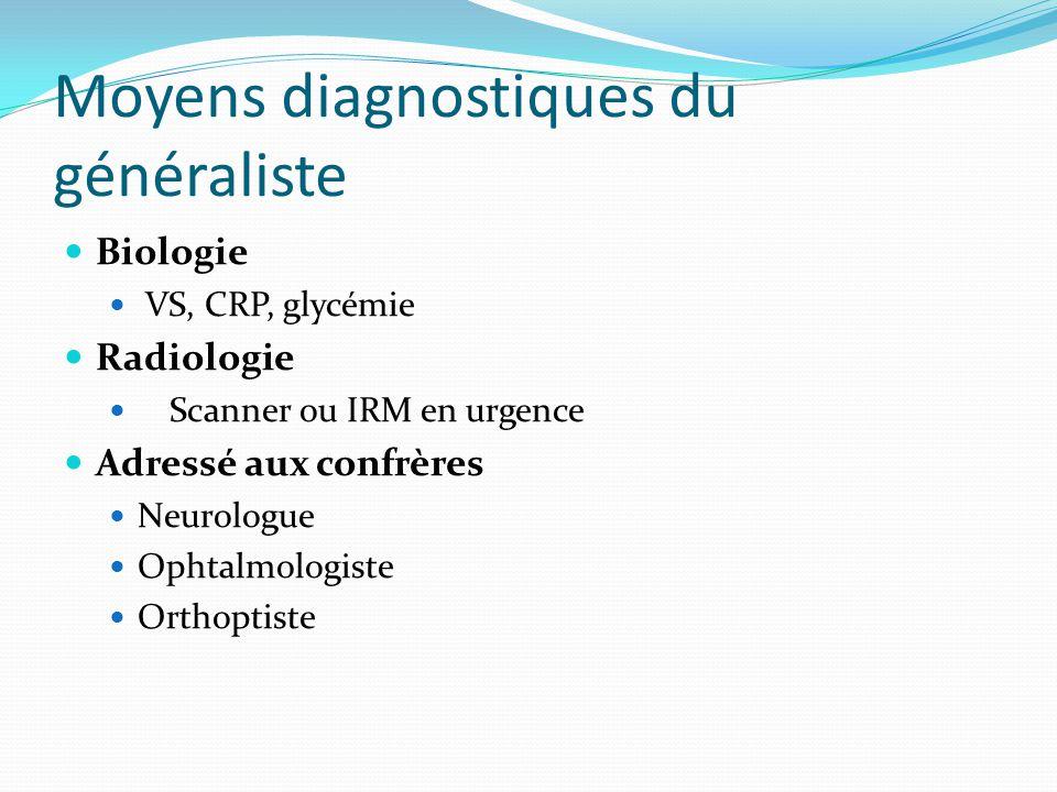 Moyens diagnostiques du généraliste Biologie VS, CRP, glycémie Radiologie Scanner ou IRM en urgence Adressé aux confrères Neurologue Ophtalmologiste O