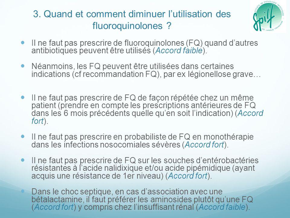3. Quand et comment diminuer l'utilisation des fluoroquinolones ? Il ne faut pas prescrire de fluoroquinolones (FQ) quand d'autres antibiotiques peuve