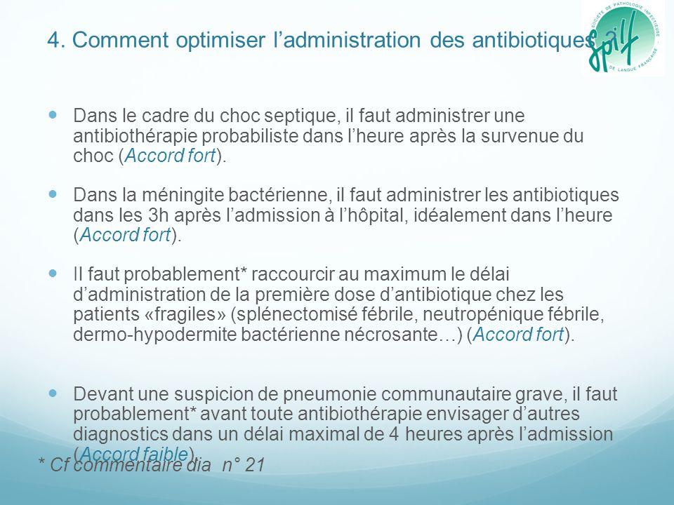 4. Comment optimiser l'administration des antibiotiques ? Dans le cadre du choc septique, il faut administrer une antibiothérapie probabiliste dans l'
