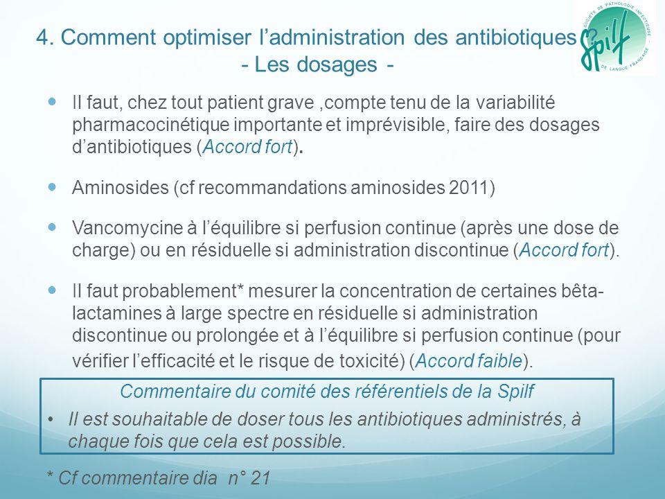 4. Comment optimiser l'administration des antibiotiques ? - Les dosages - Il faut, chez tout patient grave,compte tenu de la variabilité pharmacocinét