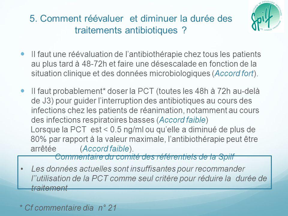 5. Comment réévaluer et diminuer la durée des traitements antibiotiques ? Il faut une réévaluation de l'antibiothérapie chez tous les patients au plus