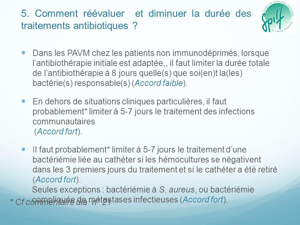 5. Comment réévaluer et diminuer la durée des traitements antibiotiques ? Dans les PAVM chez les patients non immunodéprimés, lorsque l'antibiothérapi