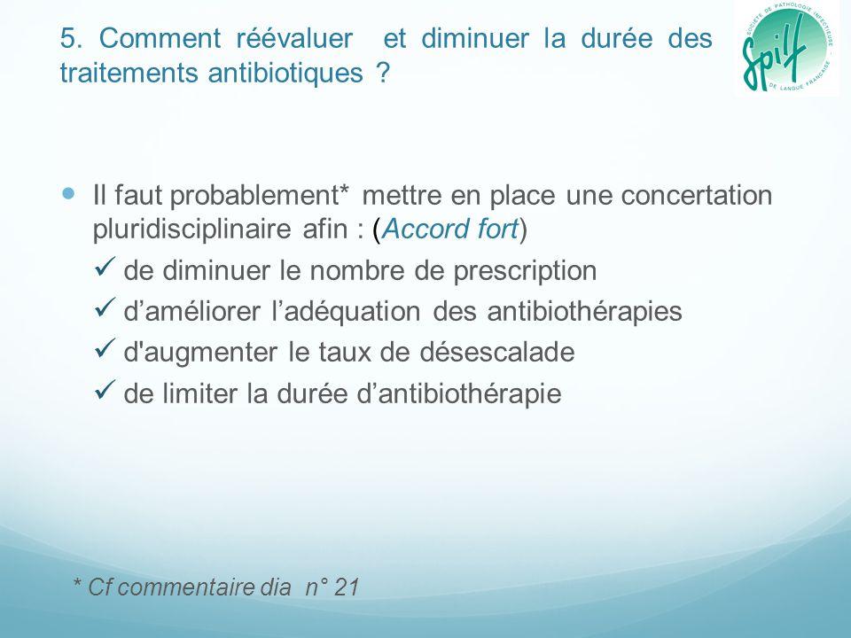 5. Comment réévaluer et diminuer la durée des traitements antibiotiques ? Il faut probablement* mettre en place une concertation pluridisciplinaire af