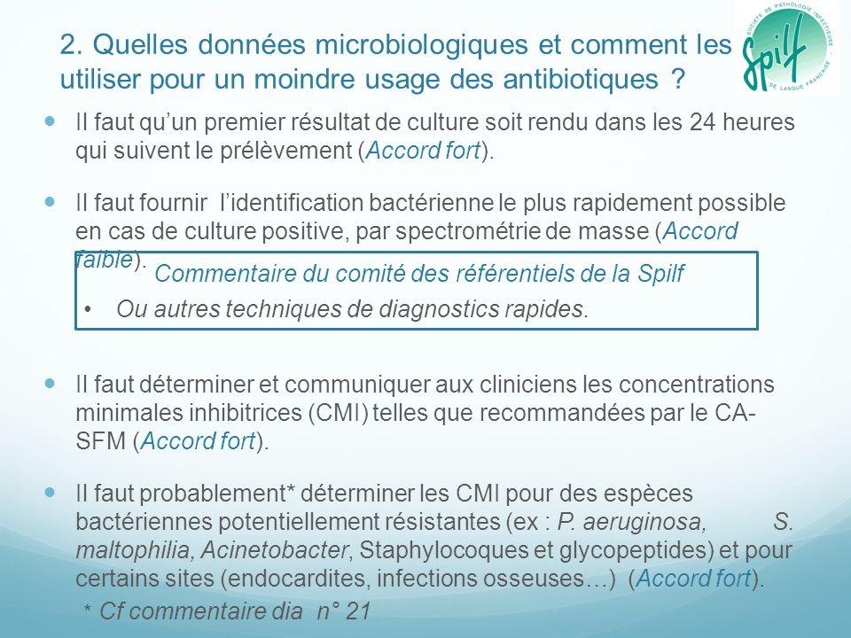 2. Quelles données microbiologiques et comment les utiliser pour un moindre usage des antibiotiques ? Il faut qu'un premier résultat de culture soit r