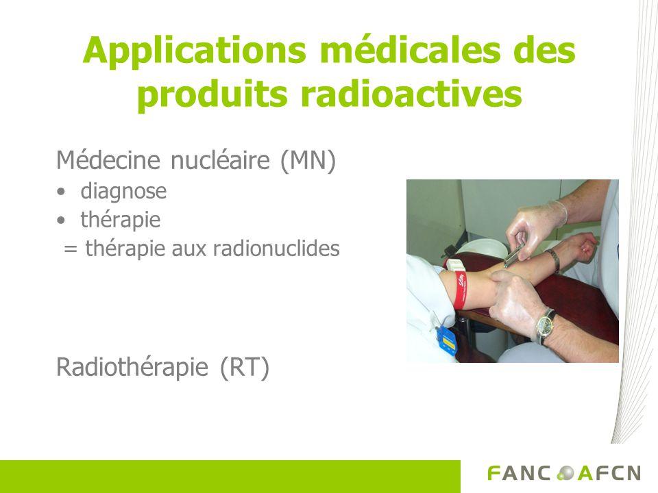 Applications médicales des produits radioactives Médecine nucléaire (MN) diagnose thérapie = thérapie aux radionuclides Radiothérapie (RT)