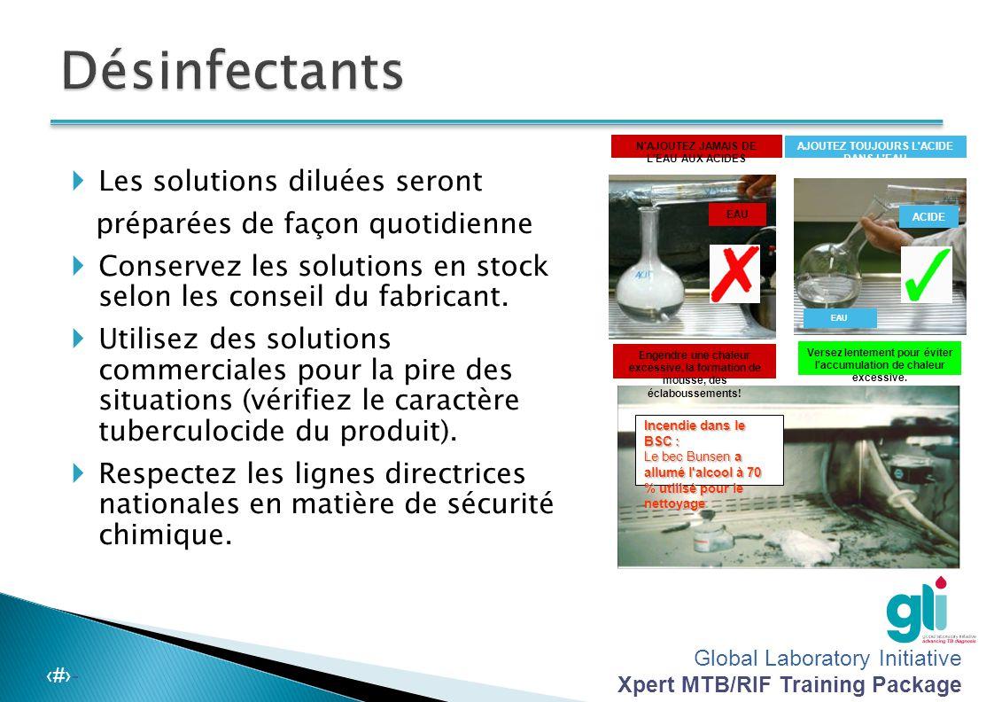Global Laboratory Initiative Xpert MTB/RIF Training Package -‹#›- Sélectionnez les désinfectants appropriés agissant contre les mycobactéries selon le
