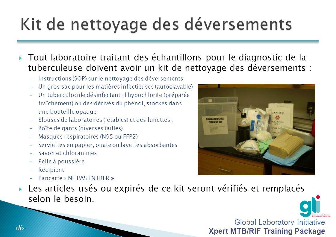 Global Laboratory Initiative Xpert MTB/RIF Training Package -‹#›-  Les solutions diluées seront préparées de façon quotidienne  Conservez les soluti