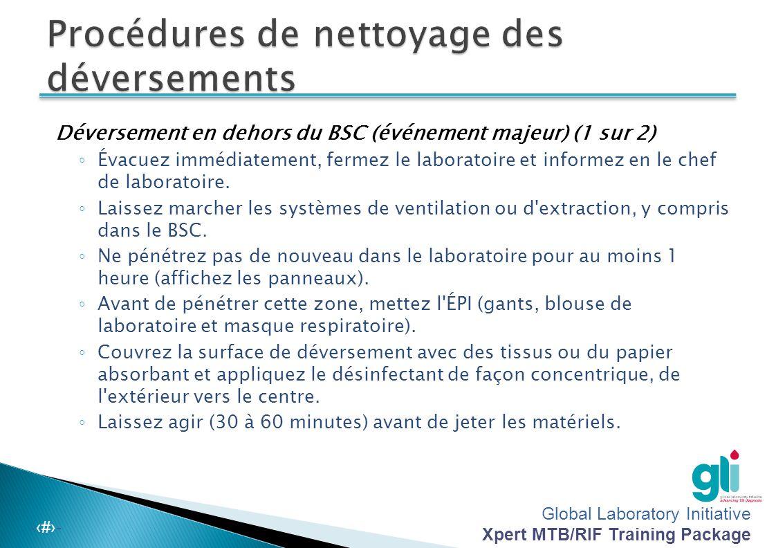 Global Laboratory Initiative Xpert MTB/RIF Training Package -‹#›-  Tous les employés de laboratoire seront formés sur la procédure en cas de déversem