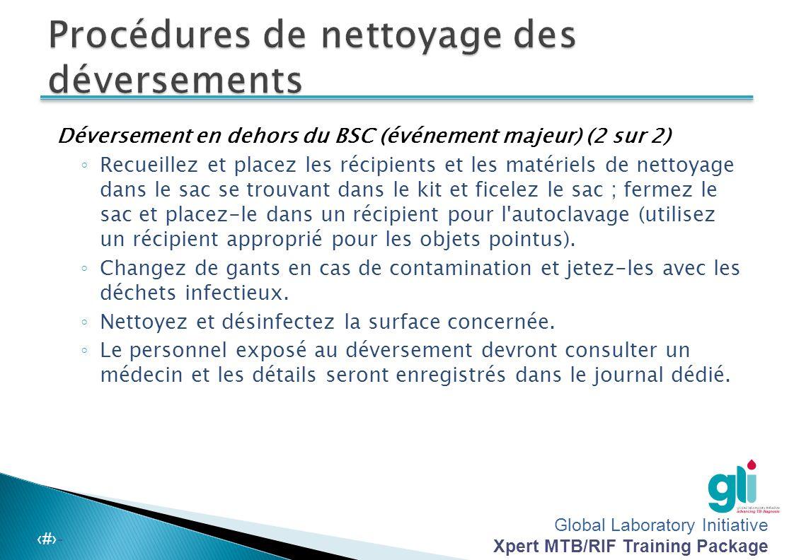 Global Laboratory Initiative Xpert MTB/RIF Training Package -‹#›- Déversement en dehors du BSC (événement majeur) (1 sur 2) ◦ Évacuez immédiatement, f