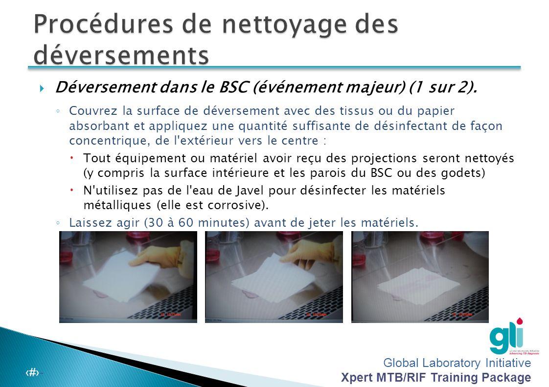 Global Laboratory Initiative Xpert MTB/RIF Training Package -‹#›- Déversement en dehors du BSC (événement majeur) (2 sur 2) ◦ Recueillez et placez les