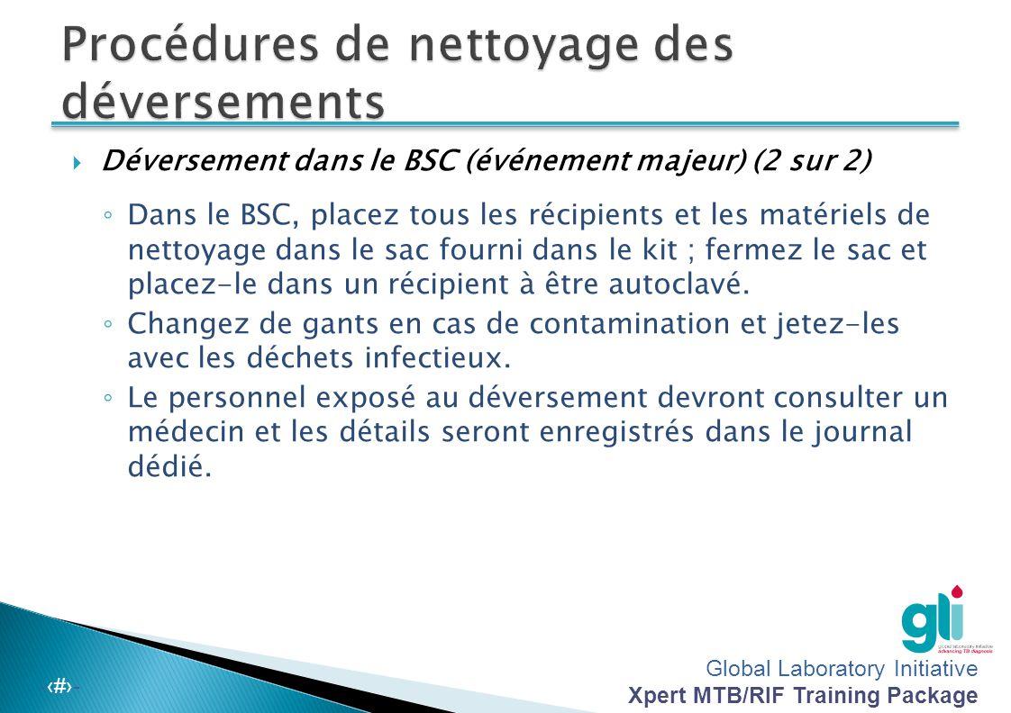 Global Laboratory Initiative Xpert MTB/RIF Training Package -‹#›-  Déversement dans le BSC (événement majeur) (1 sur 2). ◦ Couvrez la surface de déve