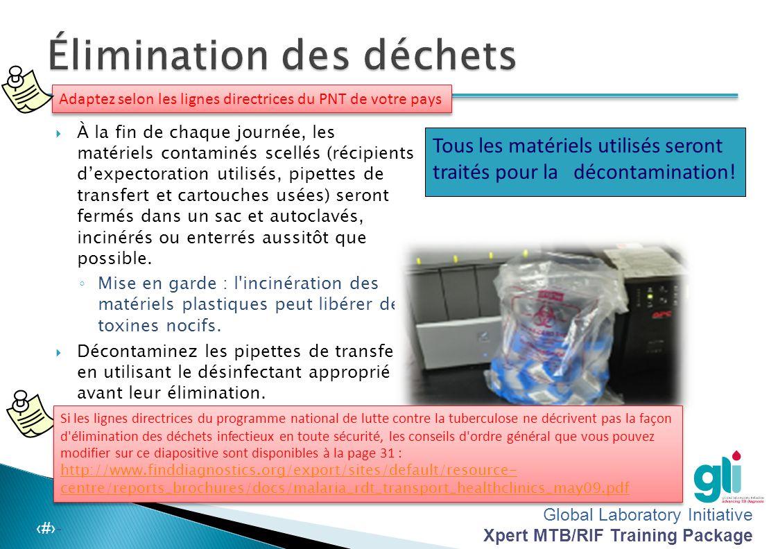 Global Laboratory Initiative Xpert MTB/RIF Training Package -‹#›- Bris des tubes dans les godets scellés -Utilisez toujours des godets de centrifugeus