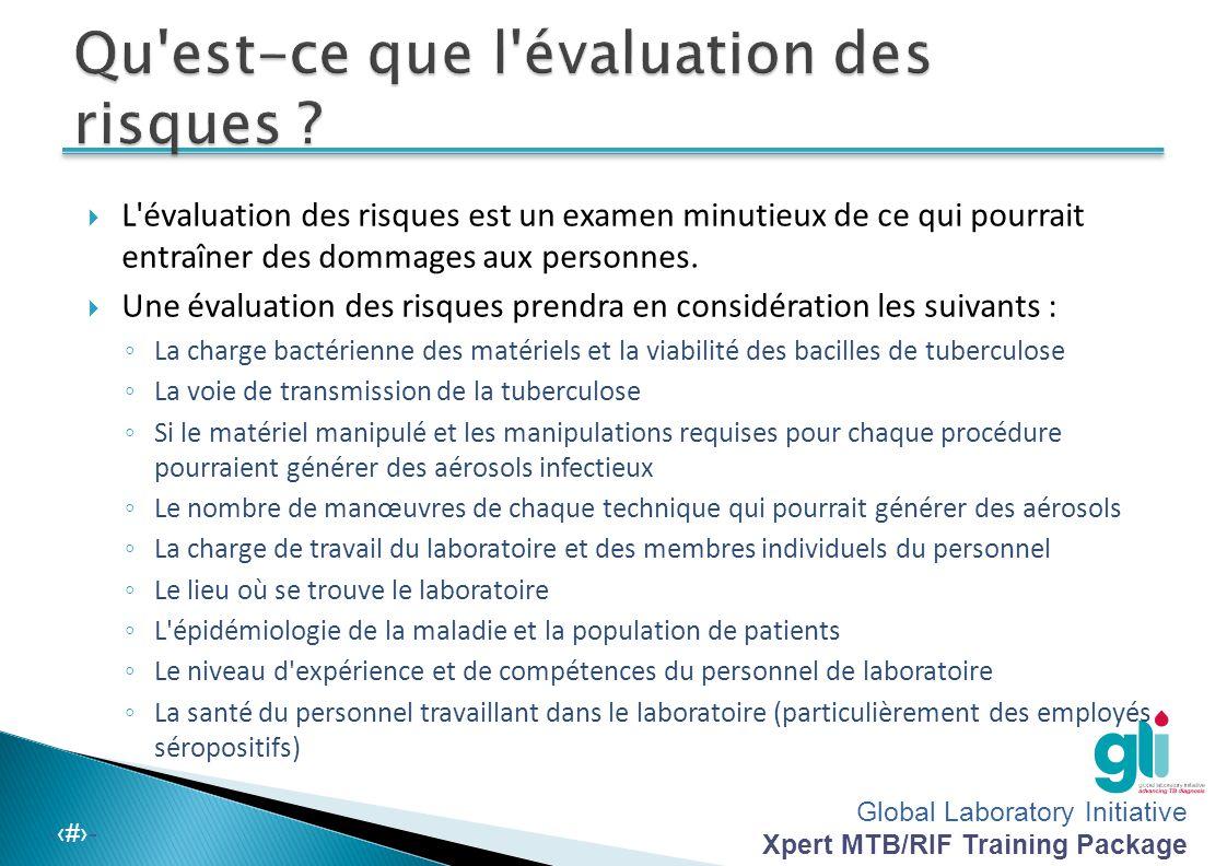 Global Laboratory Initiative Xpert MTB/RIF Training Package -‹#›-  Tous les employés de laboratoire seront formés sur la procédure en cas de déversements.