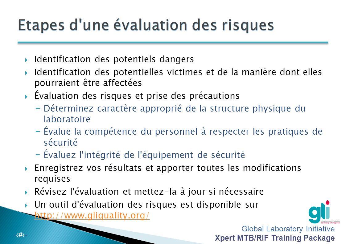 Global Laboratory Initiative Xpert MTB/RIF Training Package -‹#›- Déversement en dehors du BSC (événement majeur) (1 sur 2) ◦ Évacuez immédiatement, fermez le laboratoire et informez en le chef de laboratoire.