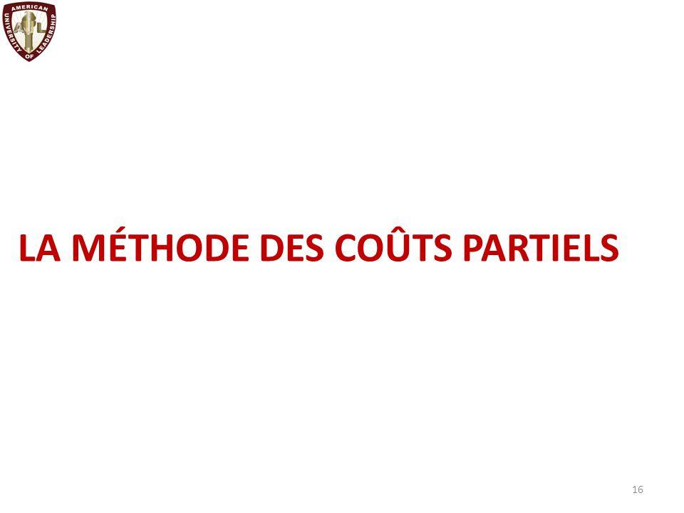 LA MÉTHODE DES COÛTS PARTIELS Définition Le coût variable est formé des seules charges qui varient en fonction du volume d activité de l entreprise.