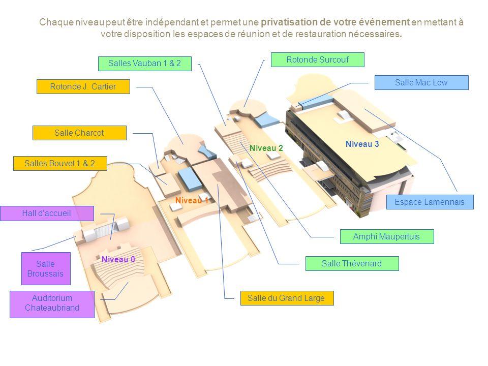 Chaque niveau peut être indépendant et permet une privatisation de votre événement en mettant à votre disposition les espaces de réunion et de restauration nécessaires.
