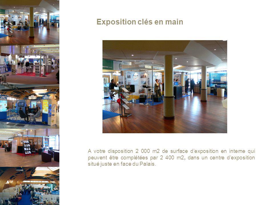 Exposition clés en main A votre disposition 2 000 m2 de surface d'exposition en interne qui peuvent être complétées par 2 400 m2, dans un centre d'exposition situé juste en face du Palais.