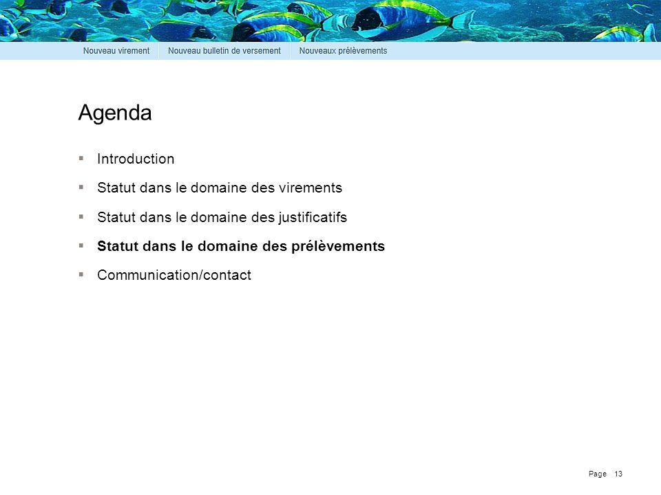 Page Agenda  Introduction  Statut dans le domaine des virements  Statut dans le domaine des justificatifs  Statut dans le domaine des prélèvements  Communication/contact 13
