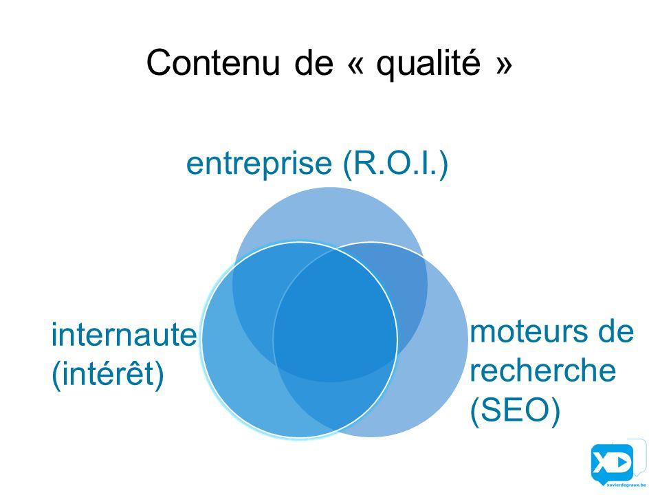 Contenu de « qualité » entreprise (R.O.I.) internaute (intérêt) moteurs de recherche (SEO)