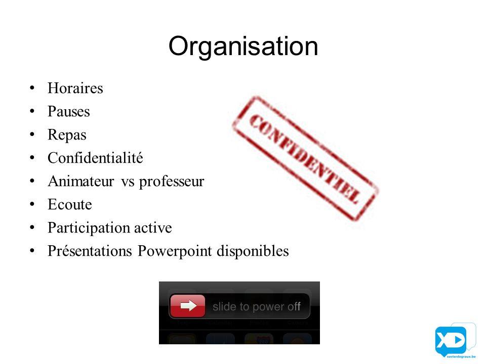 Organisation Horaires Pauses Repas Confidentialité Animateur vs professeur Ecoute Participation active Présentations Powerpoint disponibles