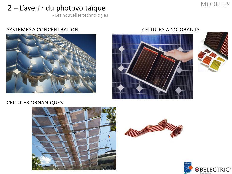 2 – L'avenir du photovoltaïque - Les nouvelles technologies SYSTEMES A CONCENTRATIONCELLULES A COLORANTS CELLULES ORGANIQUES MODULES