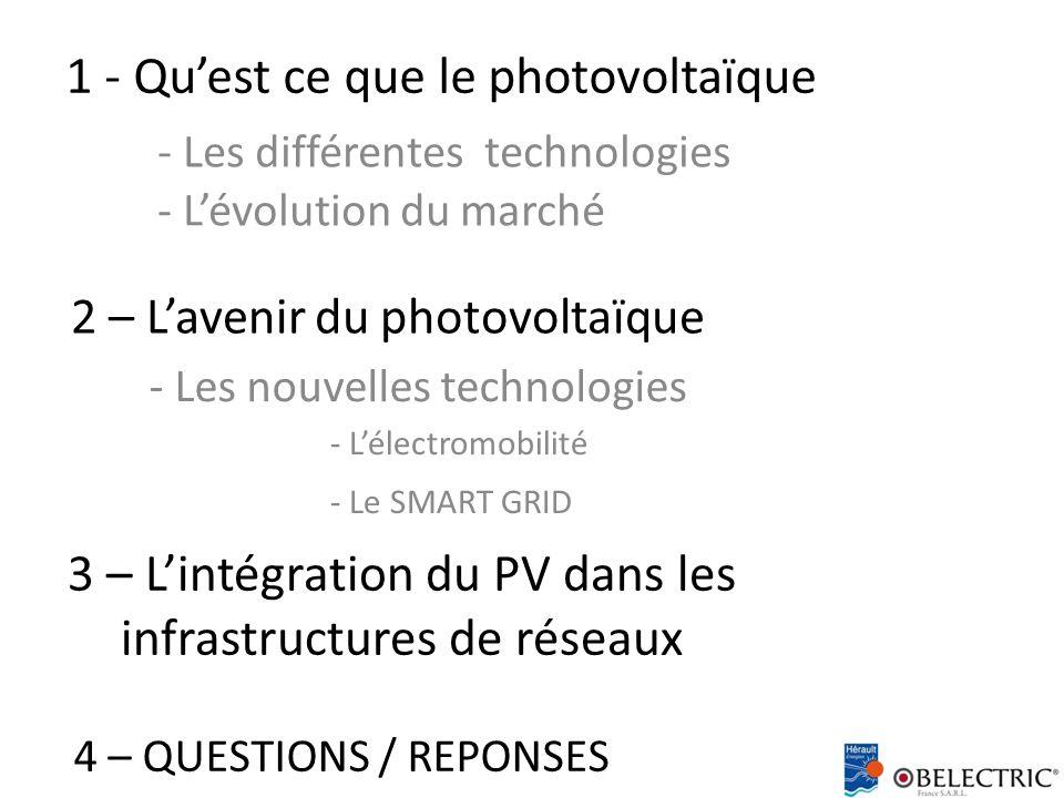 2 – L'avenir du photovoltaïque - L'évolution du marché - Les différentes technologies 1 - Qu'est ce que le photovoltaïque - Les nouvelles technologies - L'électromobilité - Le SMART GRID 3 – L'intégration du PV dans les infrastructures de réseaux 4 – QUESTIONS / REPONSES