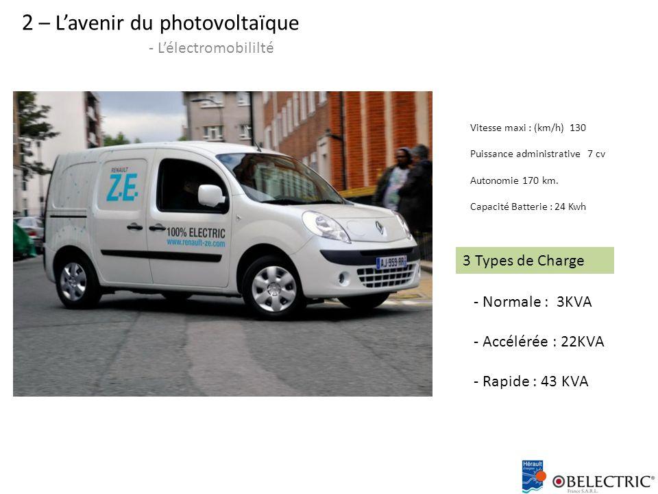 2 – L'avenir du photovoltaïque - L'électromobililté Vitesse maxi : (km/h) 130 Puissance administrative 7 cv Autonomie 170 km.