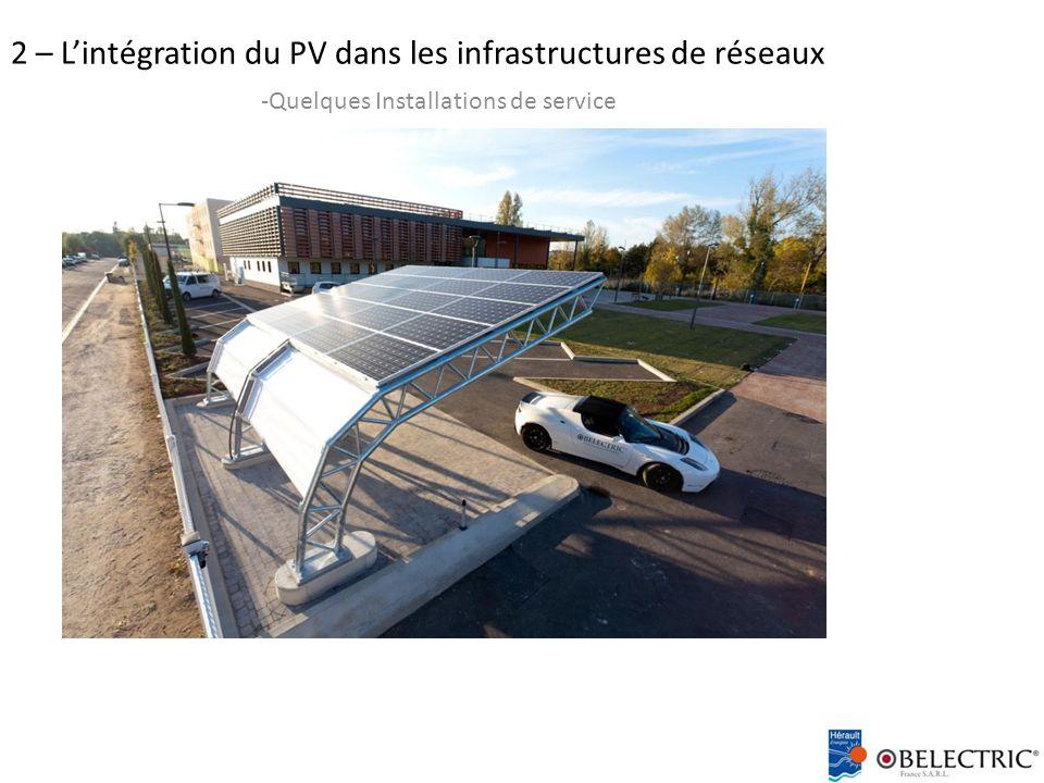 2 – L'intégration du PV dans les infrastructures de réseaux -Quelques Installations de service