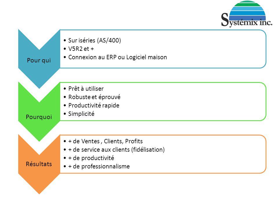 Pour qui Sur iséries (AS/400) V5R2 et + Connexion au ERP ou Logiciel maison Pourquoi Prêt à utiliser Robuste et éprouvé Productivité rapide Simplicité Résultats + de Ventes, Clients, Profits + de service aux clients (fidélisation) + de productivité + de professionnalisme