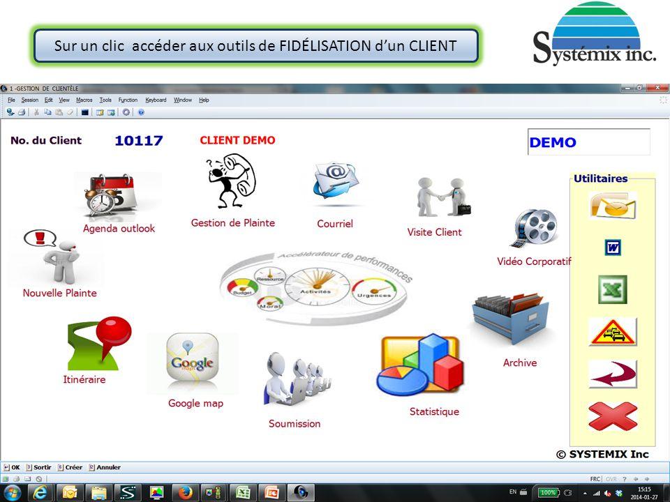 Sur un clic accéder aux outils de FIDÉLISATION d'un CLIENT