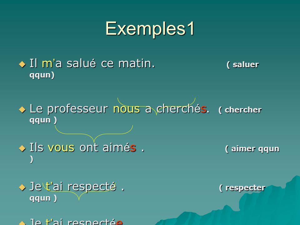Les pronoms complément d'objet direct me, te, le / la, les, nous, vous Au temps composé Le verbe doit être transitif direct