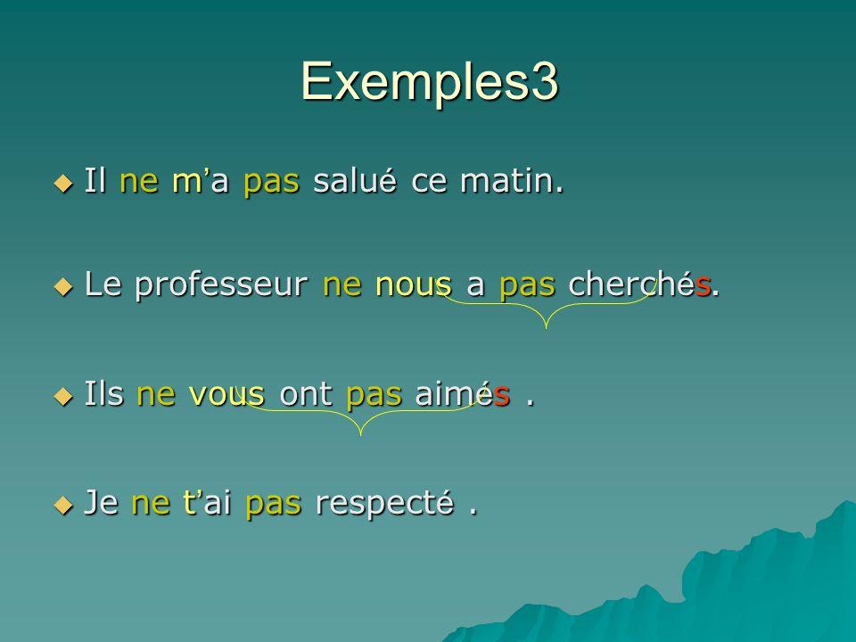 Les pronoms complément d'objet direct me, te, le / la, les, nous, vous Le verbe doit être transitif direct Au temps composé à la forme négative