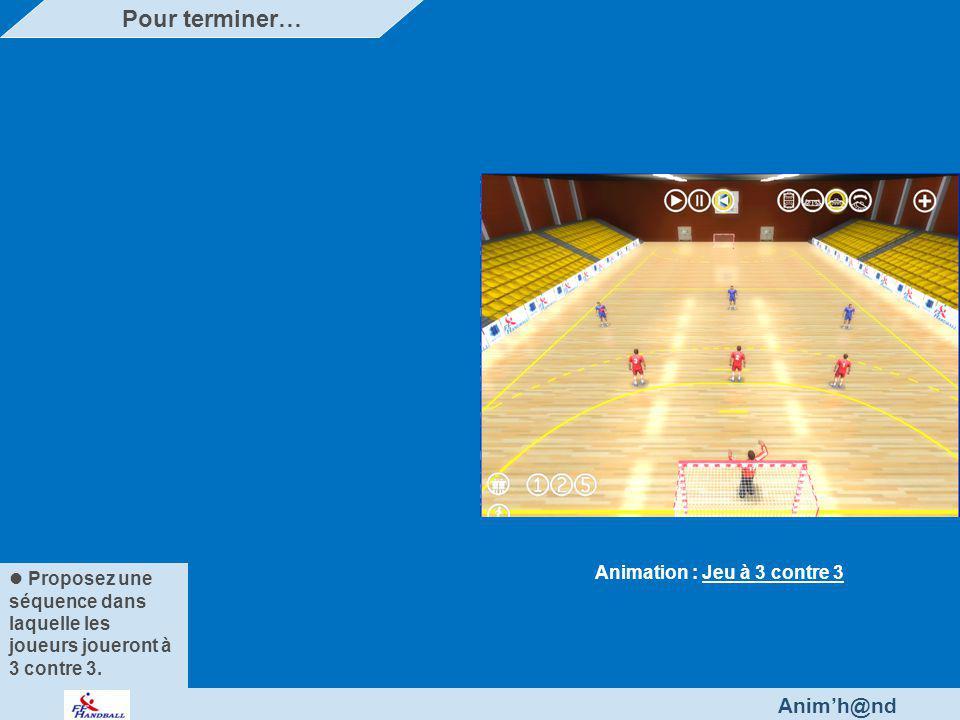 Anim'h@nd Proposez une séquence dans laquelle les joueurs joueront à 3 contre 3.