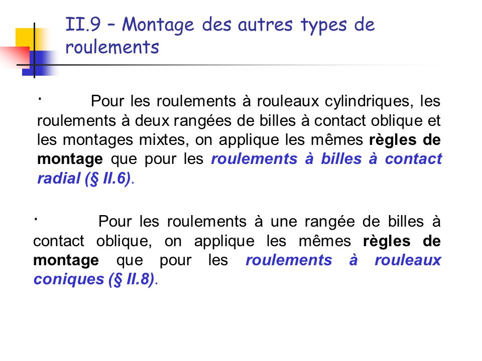 II.9 – Montage des autres types de roulements · Pour les roulements à rouleaux cylindriques, les roulements à deux rangées de billes à contact oblique