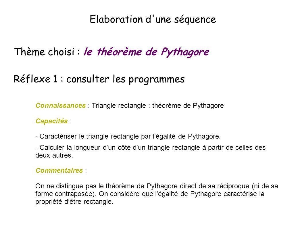 Elaboration d une séquence Thème choisi : le théorème de Pythagore Réflexe 1 : consulter les programmes Connaissances : Triangle rectangle : théorème de Pythagore Capacités : - Caractériser le triangle rectangle par l'égalité de Pythagore.