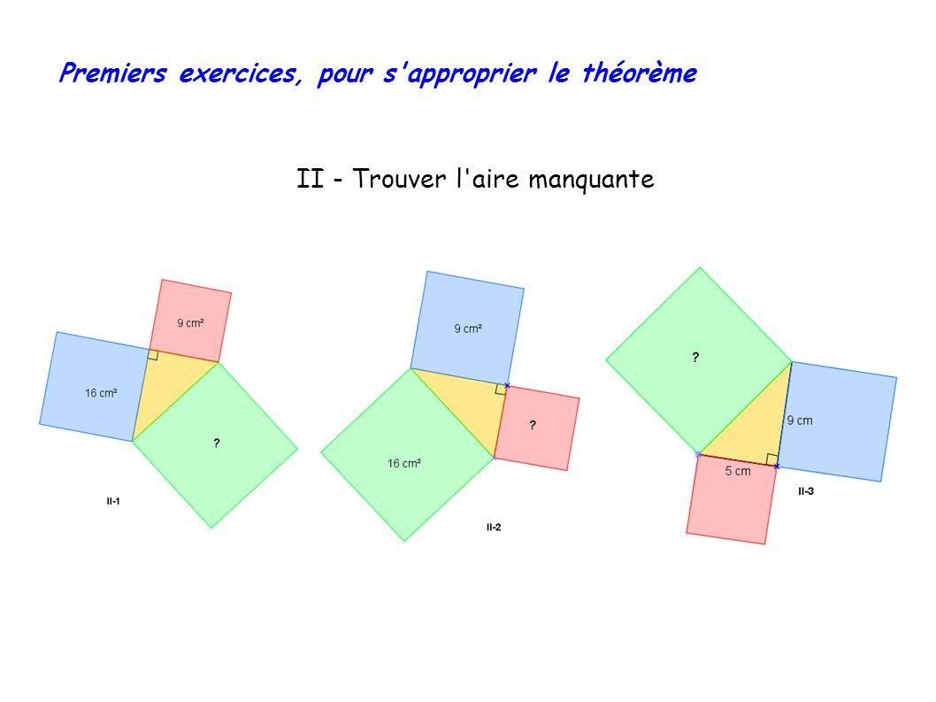 Premiers exercices, pour s approprier le théorème II - Trouver l aire manquante