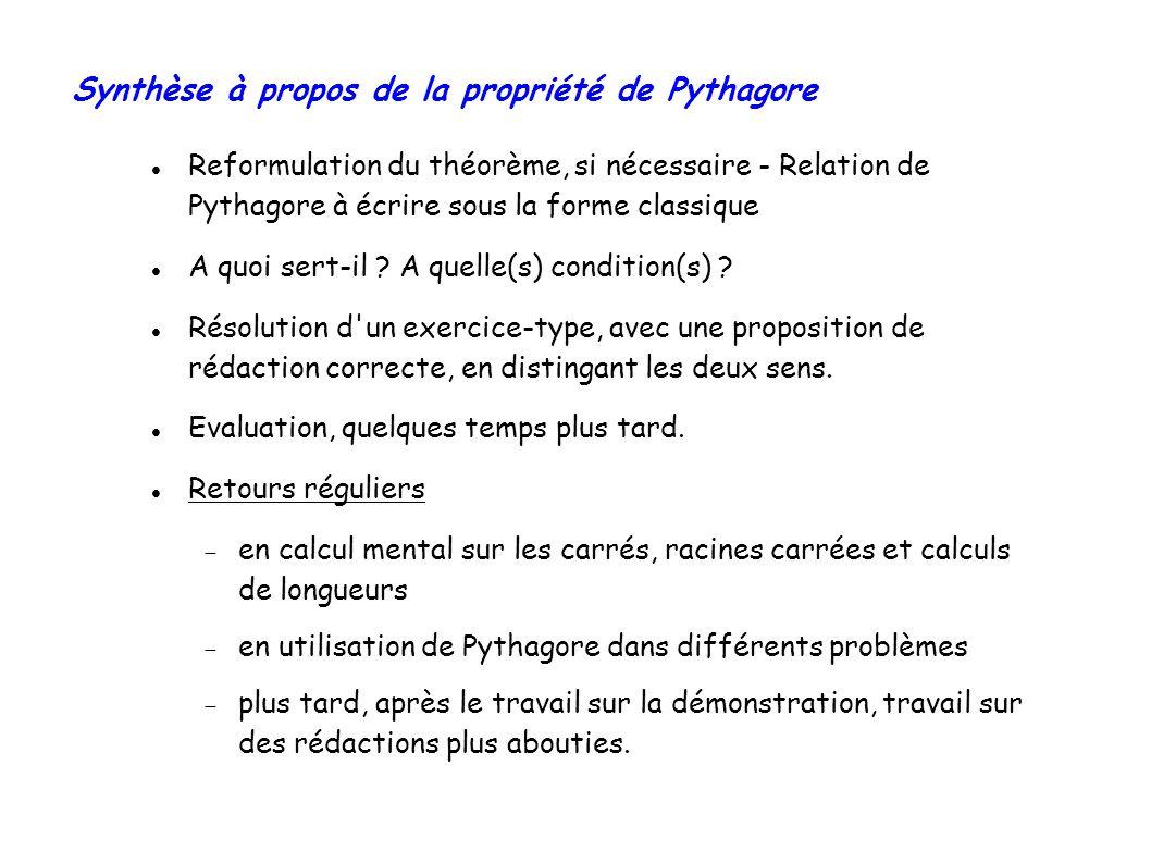 Synthèse à propos de la propriété de Pythagore Reformulation du théorème, si nécessaire - Relation de Pythagore à écrire sous la forme classique A quoi sert-il .